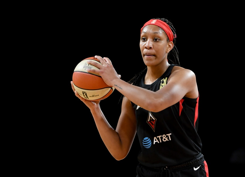A'ja Wilson #22 of the Las Vegas Aces looks to pass against the Los Angeles Sparks during their game at the Mandalay Bay Events Center on May 26, 2019 in Las Vegas, Nevada. The Aces defeated the Sparks 83-70.