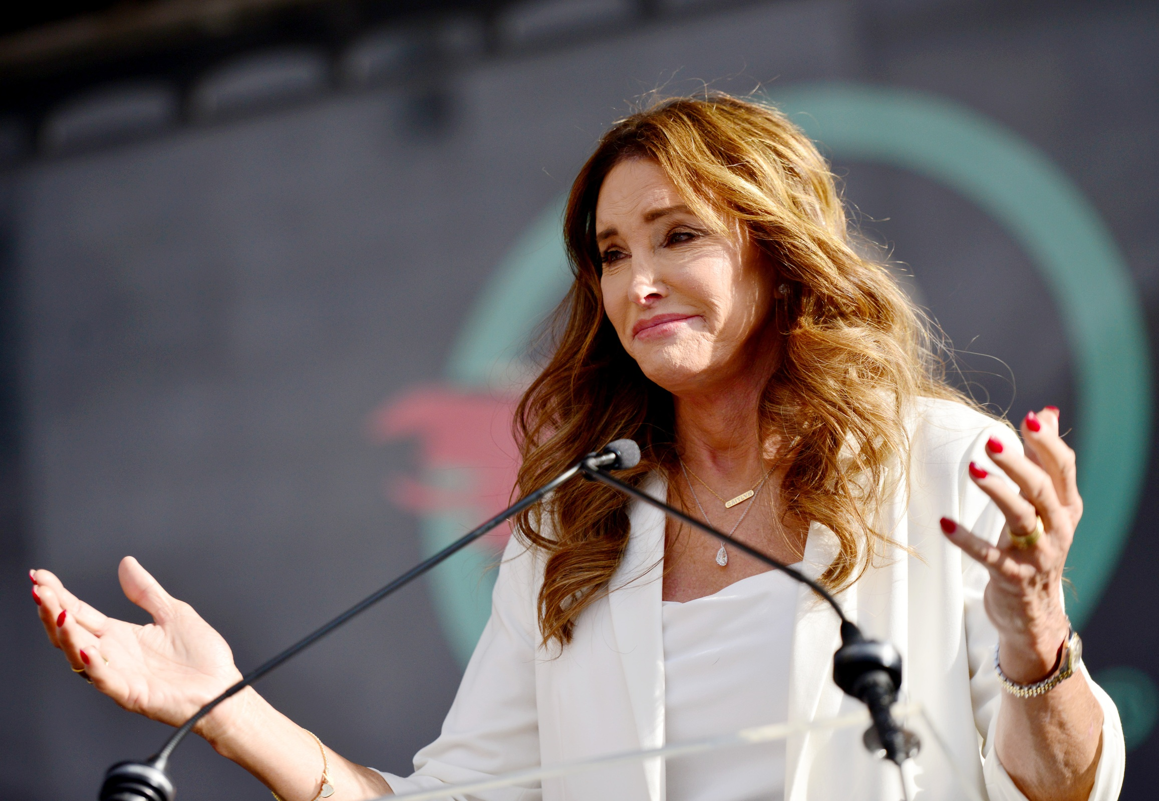 Caitlyn Jenner at the Los Angeles Women's March in 2020.
