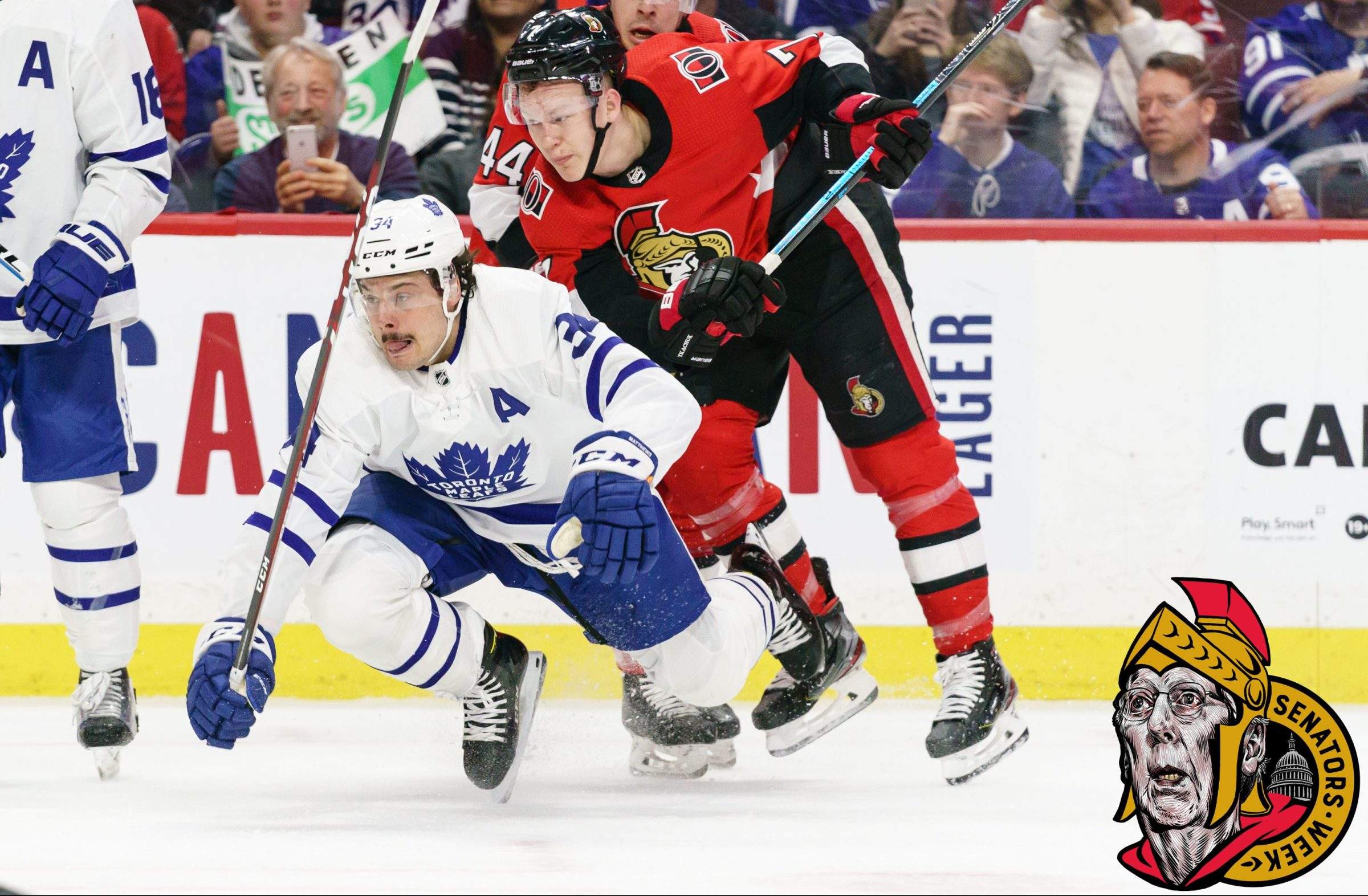 Brady Tkachuk of the Ottawa Senators checks Auston Matthews, much as he might check Ted Cruz