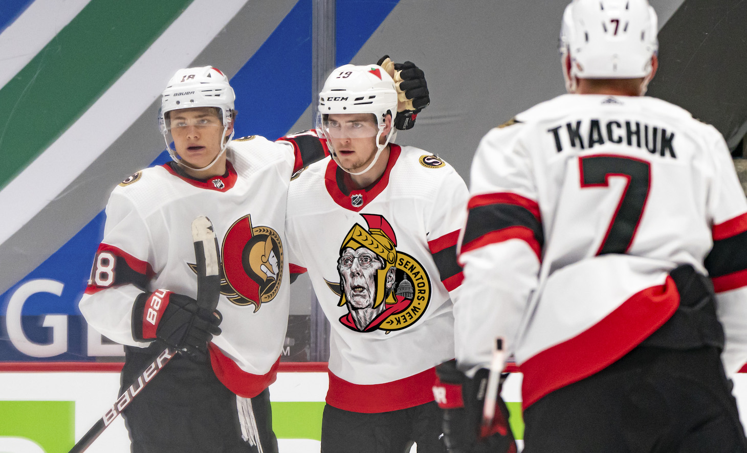 VANCOUVER, BC - APRIL 22: Drake Batherson #19 of the Ottawa Senators is congratulated by teammates Tim Stutzle #18 and Brady Tkachuk #7 after scoring a goal against the Vancouver Canucks during the first period of NHL action at Rogers Arena on April 22, 2021 in Vancouver, Canada. (Photo by Rich Lam/Getty Images)