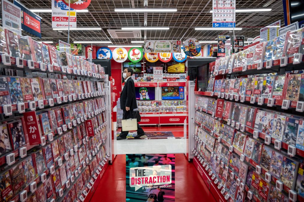An extremely well-stocked section of Nintendo games at a store in Tokyo.