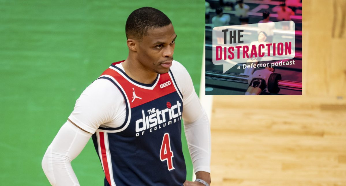 Russell Westbrook contemplates the void, and The Distraction logo.