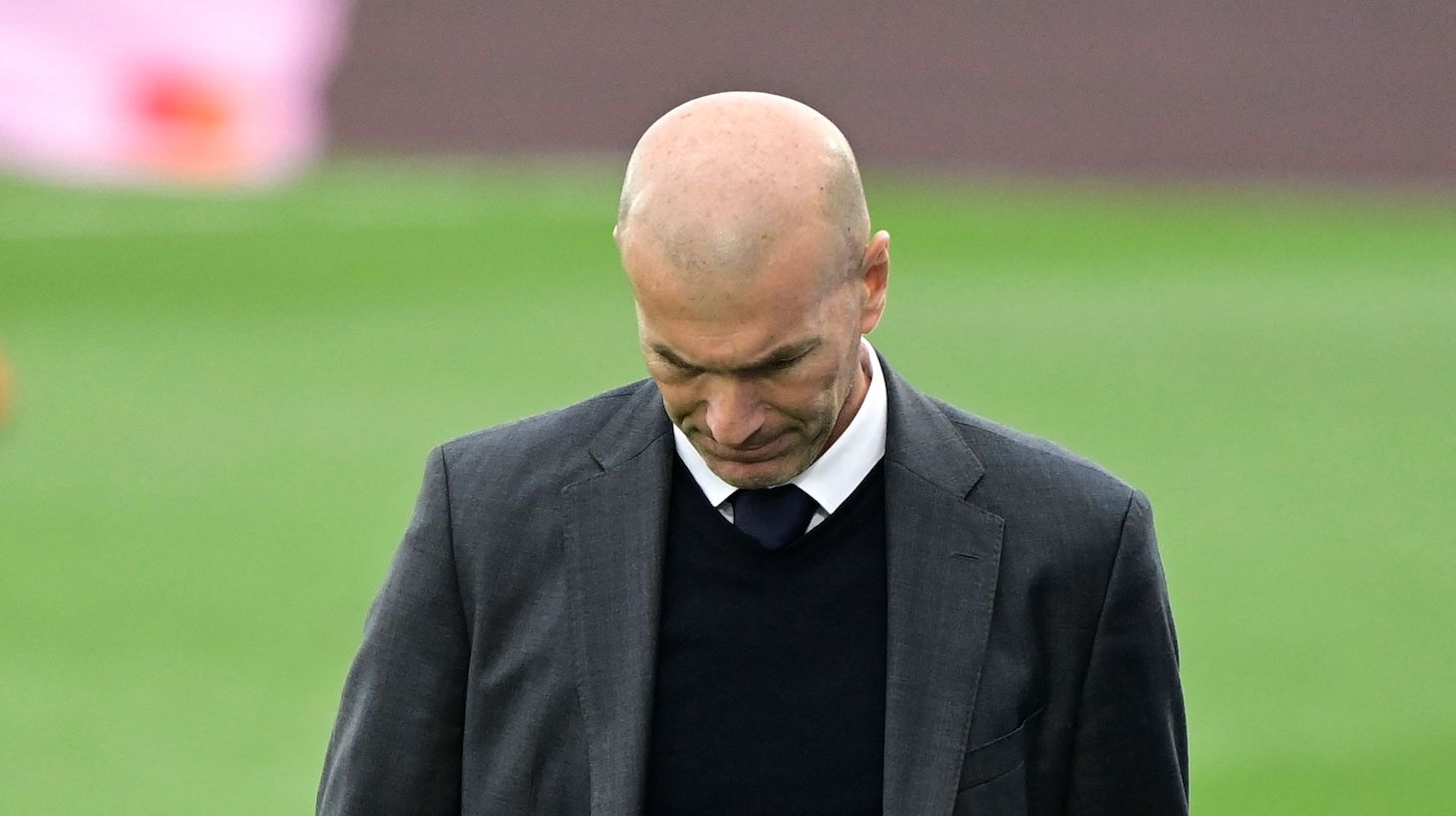 Real Madrid's French coach Zinedine Zidane reacts during the Spanish league football match Real Madrid CF against Villarreal CF at the Alfredo di Stefano stadium in Valdebebas, on the outskirts of Madrid, on May 22, 2021.