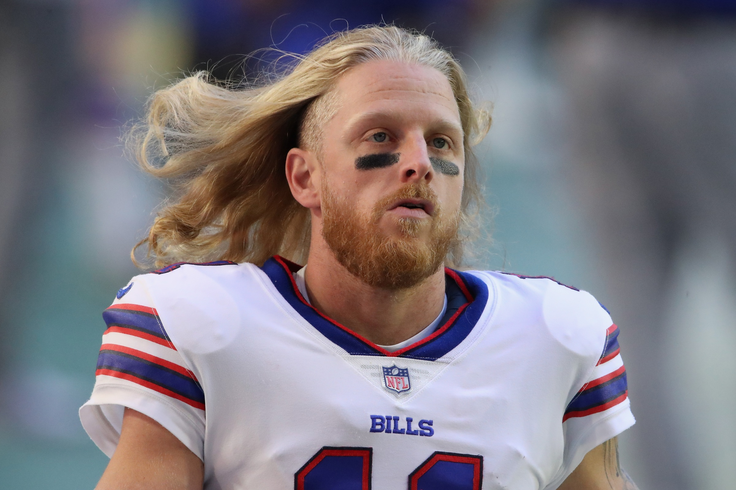 Cole Beasley looks super intense and tough.