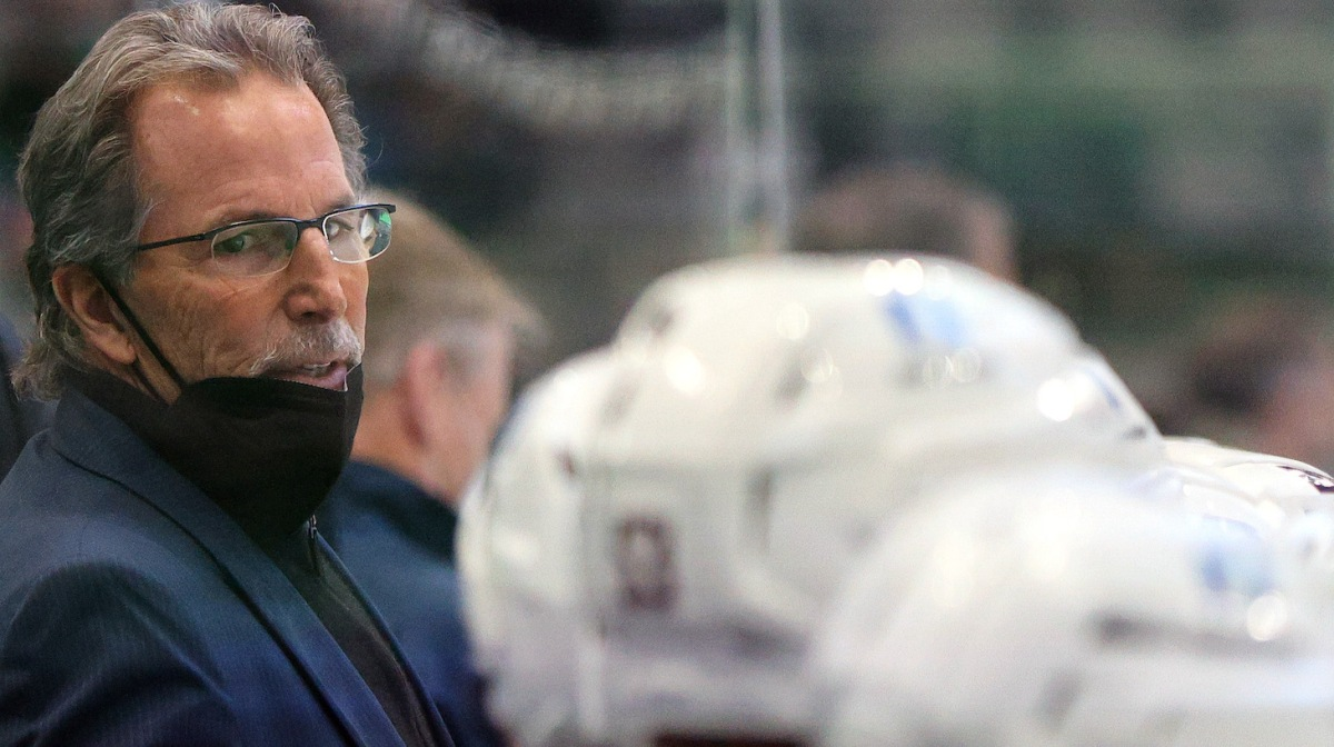 DALLAS, TEXAS - MARCH 04: John Tortorella, head coach of the Columbus Blue Jackets in the third period at American Airlines Center on March 04, 2021 in Dallas, Texas. (Photo by Ronald Martinez/Getty Images)