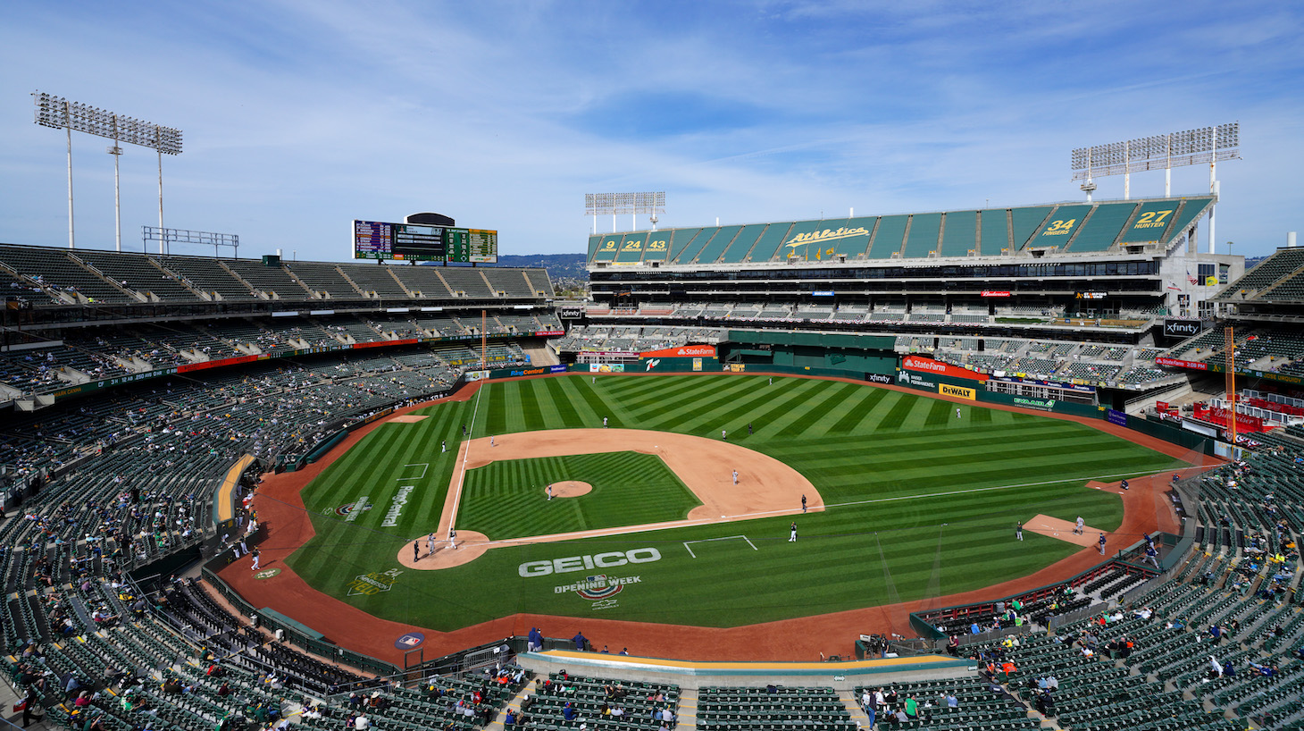 OAKLAND, CALIFORNIA - APRIL 04: A general view of RingCentral Coliseum during the game between the Oakland Athletics and the Houston Astros at RingCentral Coliseum on April 04, 2021 in Oakland, California. (Photo by Daniel Shirey/Getty Images)