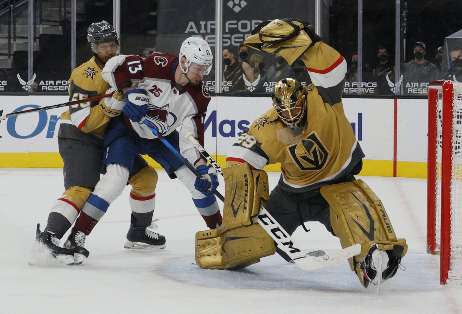 Marc-Andre Fleury makes a glove save