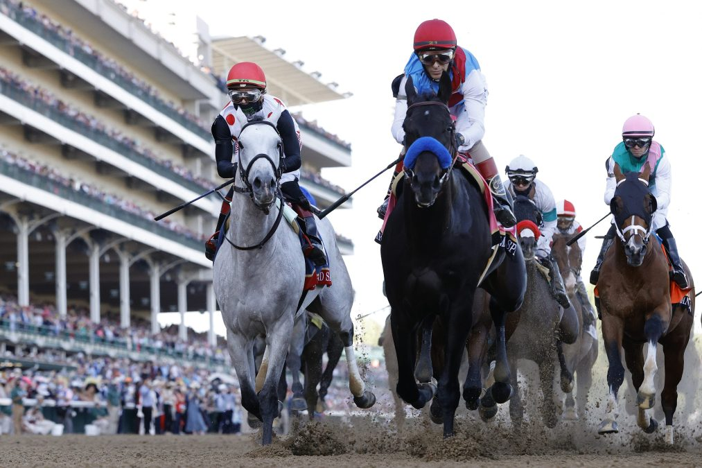 Medina Spirit leads down the stretch at the 147th Kentucky Derby.