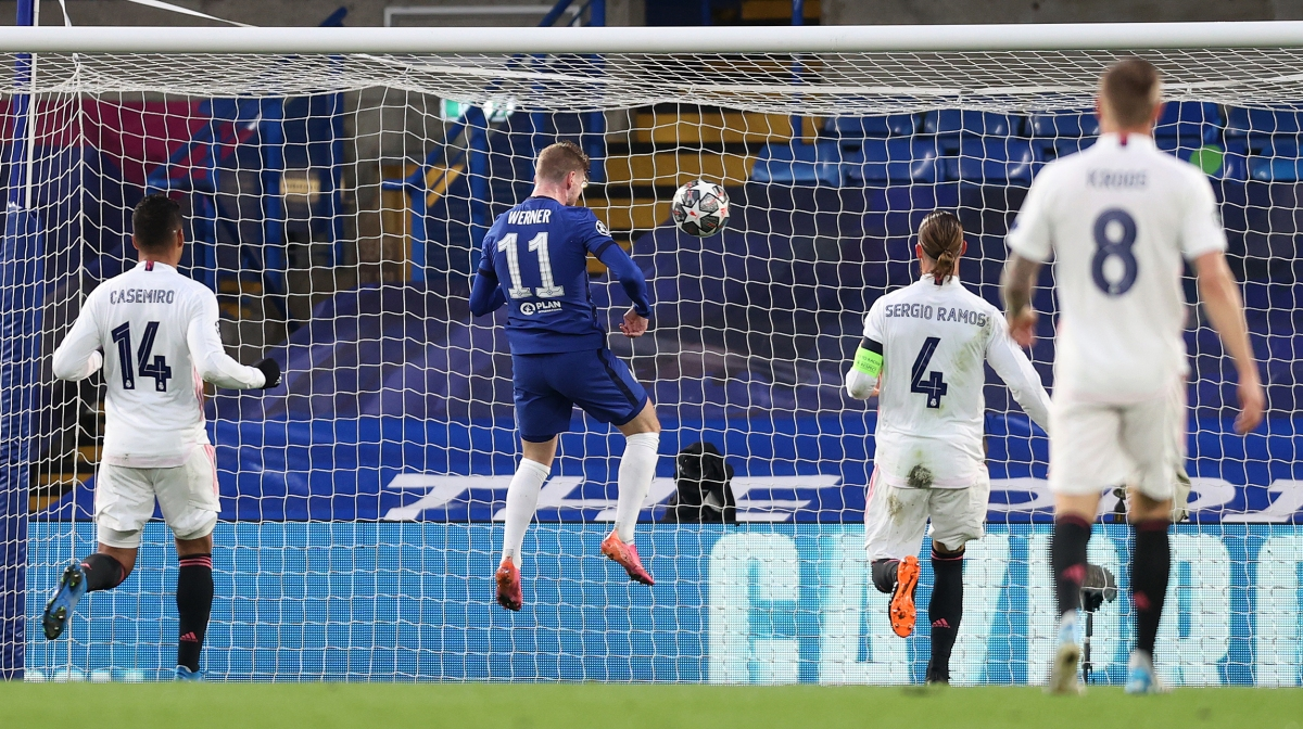Timo Werner of Chelsea scores his team's first goal during the UEFA Champions League Semi Final Second Leg match between Chelsea and Real Madrid at Stamford Bridge on May 05, 2021 in London, England
