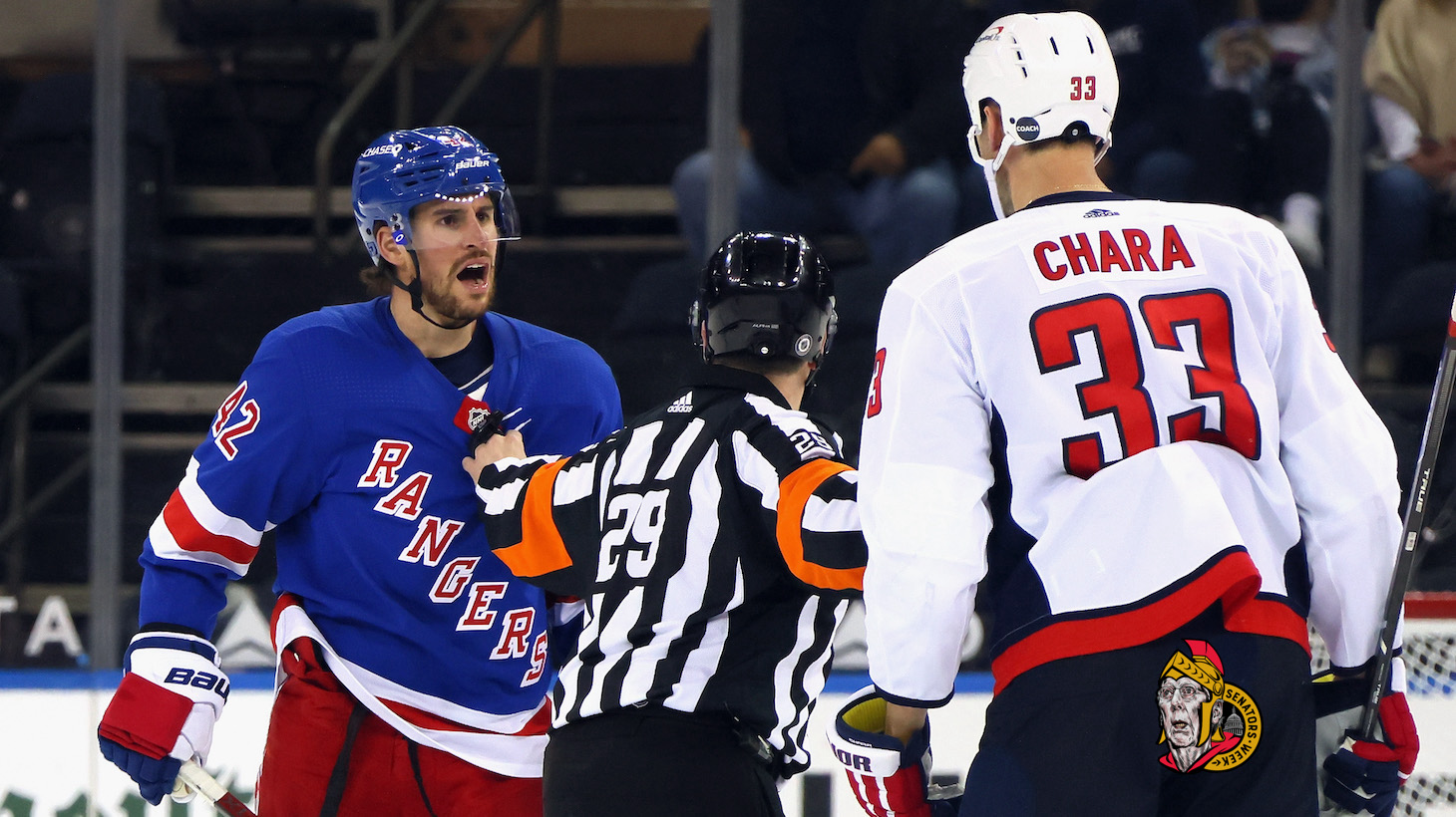 NEW YORK, NEW YORK - MAY 05: Brendan Smith #42 of the New York Rangers chats with Zdeno Chara #33 of the Washington Capitals during the second period at Madison Square Garden on May 05, 2021 in New York City. (Photo by Bruce Bennett/Getty Images)
