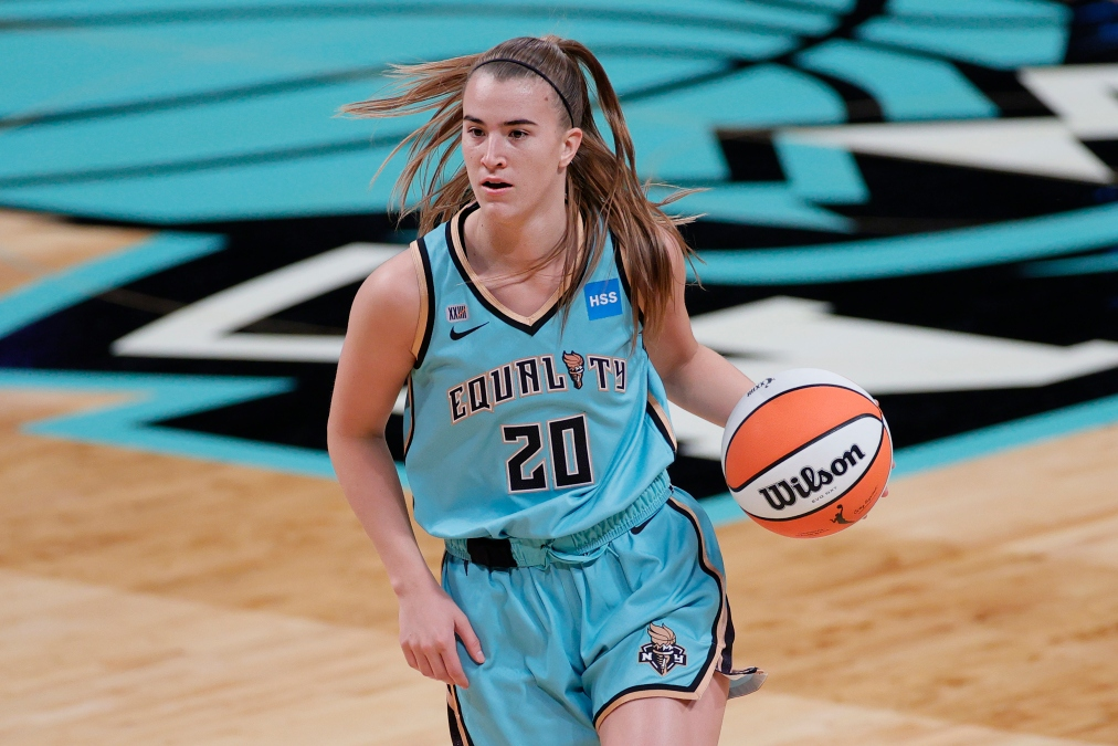 Sabrina Ionescu #20 of the New York Liberty dribbles during the first half against the Indiana Fever at Barclays Center on May 14, 2021 in the Brooklyn borough of New York City.