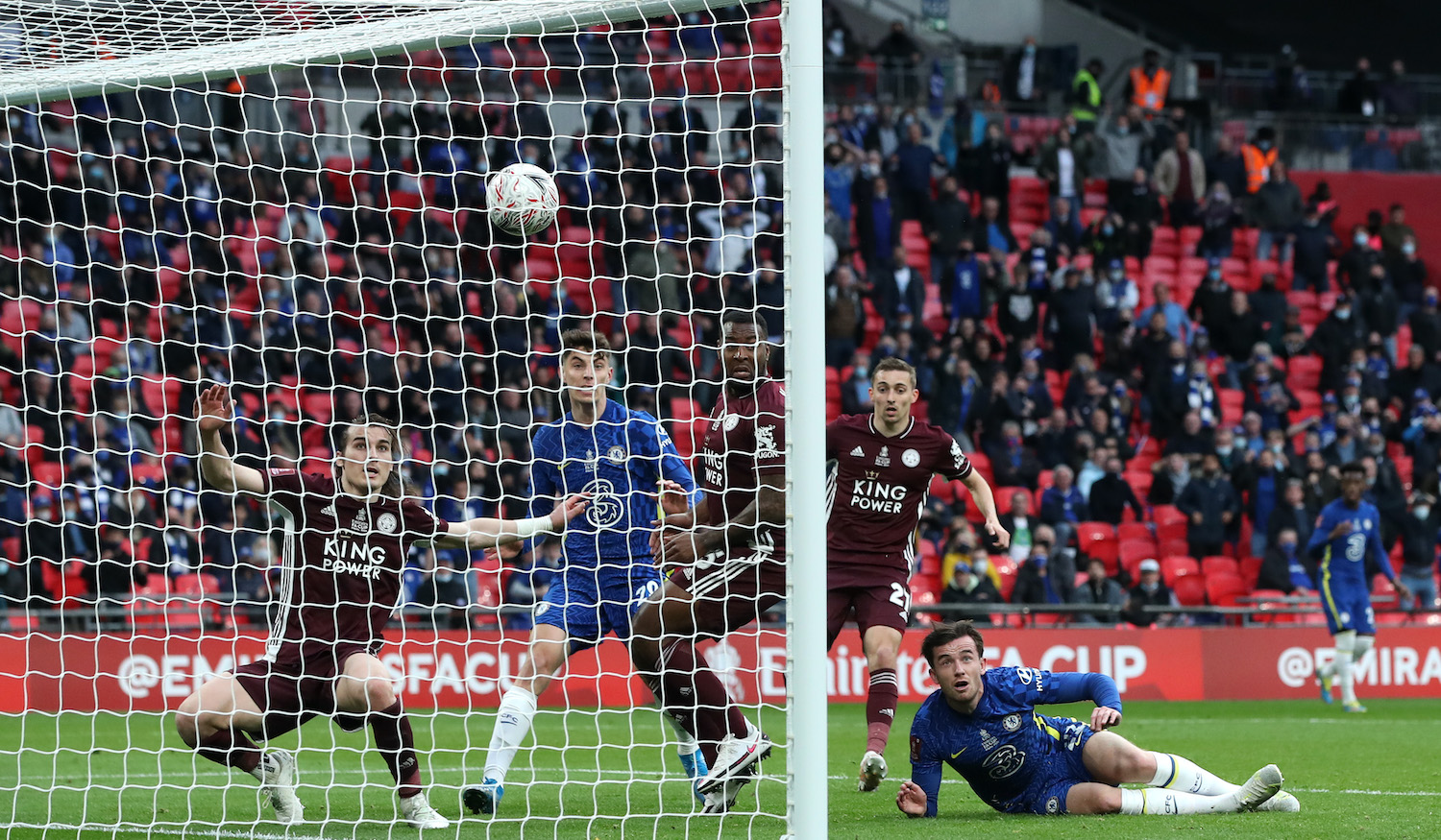 LONDON, ENGLAND - MAY 15: Ben Chilwell of Chelsea looks on after his effort is cleared by Caglar Soyuncu into Wes Morgan of Leicester City resulting in a goal that was later ruled out by VAR for offside during The Emirates FA Cup Final match between Chelsea and Leicester City at Wembley Stadium on May 15, 2021 in London, England. A limited number of around 21,000 fans, subject to a negative lateral flow test, will be allowed inside Wembley Stadium to watch this year's FA Cup Final as part of a pilot event to trial the return of large crowds to UK venues. (Photo by Nick Potts - Pool/Getty Images)