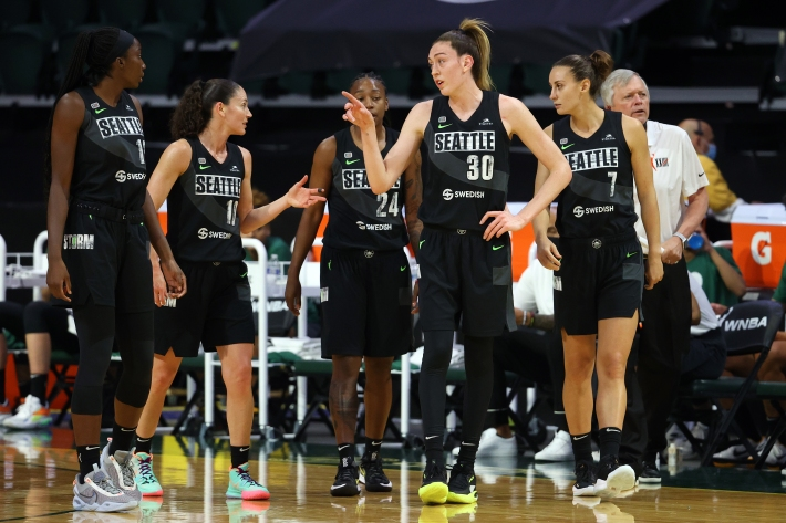 Breanna Stewart #30 of the Seattle Storm reacts during the first quarter against the Las Vegas Aces at Angel of the Winds Arena on May 15, 2021 in Everett, Washington.