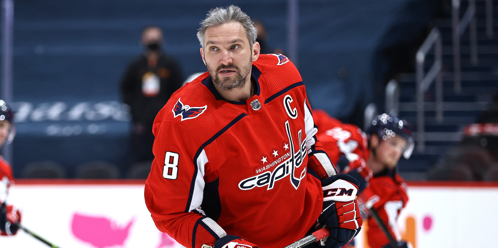 WASHINGTON, DC - MAY 17: Alex Ovechkin #8 of the Washington Capitals skates during warm ups before the game against the Boston Bruins in Game Two of the First Round of the 2021 Stanley Cup Playoffs at Capital One Arena on May 17, 2021 in Washington, DC. (Photo by Elsa/Getty Images)