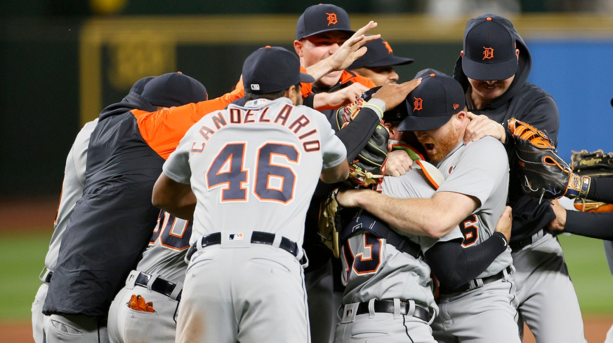SEATTLE, WASHINGTON - MAY 18: Spencer Turnbull #56 of the Detroit Tigers celebrates with his teammates after a no-hitter against the Seattle Mariners at T-Mobile Park on May 18, 2021 in Seattle, Washington. The Tigers beat the Mariners 5-0. (Photo by Steph Chambers/Getty Images)