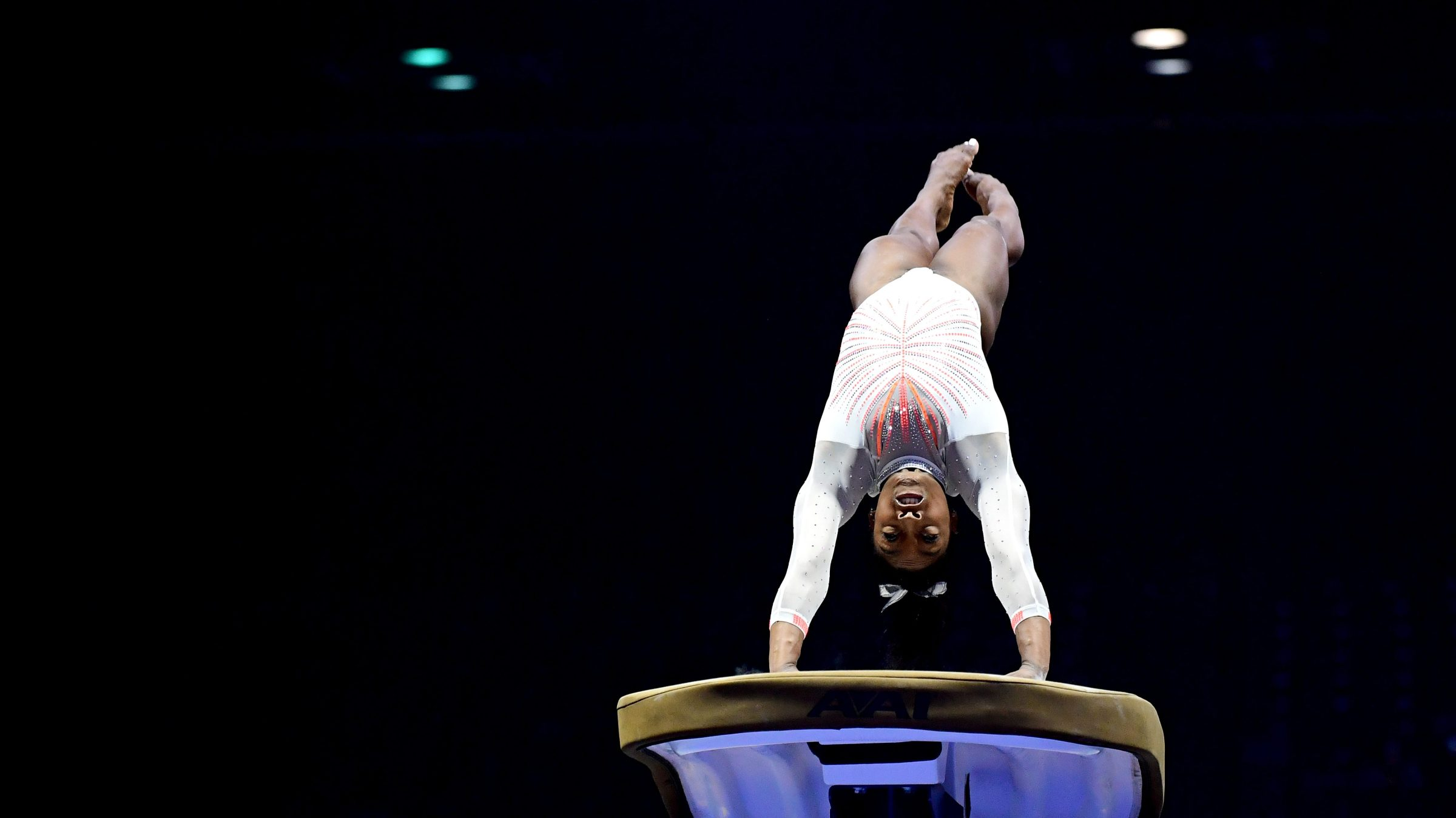 Simone Biles does the Yurchenko double pike while competing on the vault during the 2021 GK U.S. Classic gymnastics competition at the Indiana Convention Center on May 22, 2021 in Indianapolis, Indiana. Biles became the first woman in history to land the Yurchenko double pike in competition.