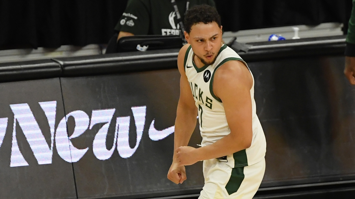 Bryn Forbes #7 of the Milwaukee Bucks reacts after his three point basket in the second quarter against the Miami Heat during Game Two of their Eastern Conference first-round playoff series between the Milwaukee Bucks and the Miami Heat at Fiserv Forum on May 24, 2021 in Milwaukee, Wisconsin.