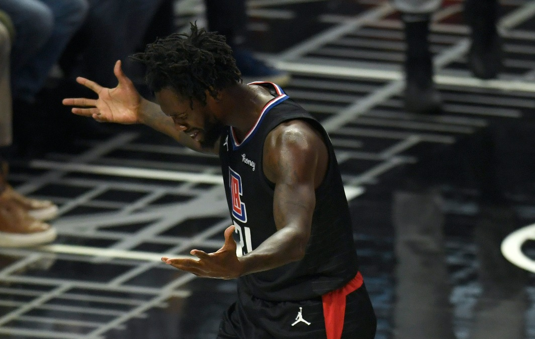 Patrick Beverley looks bummed after committing a foul.