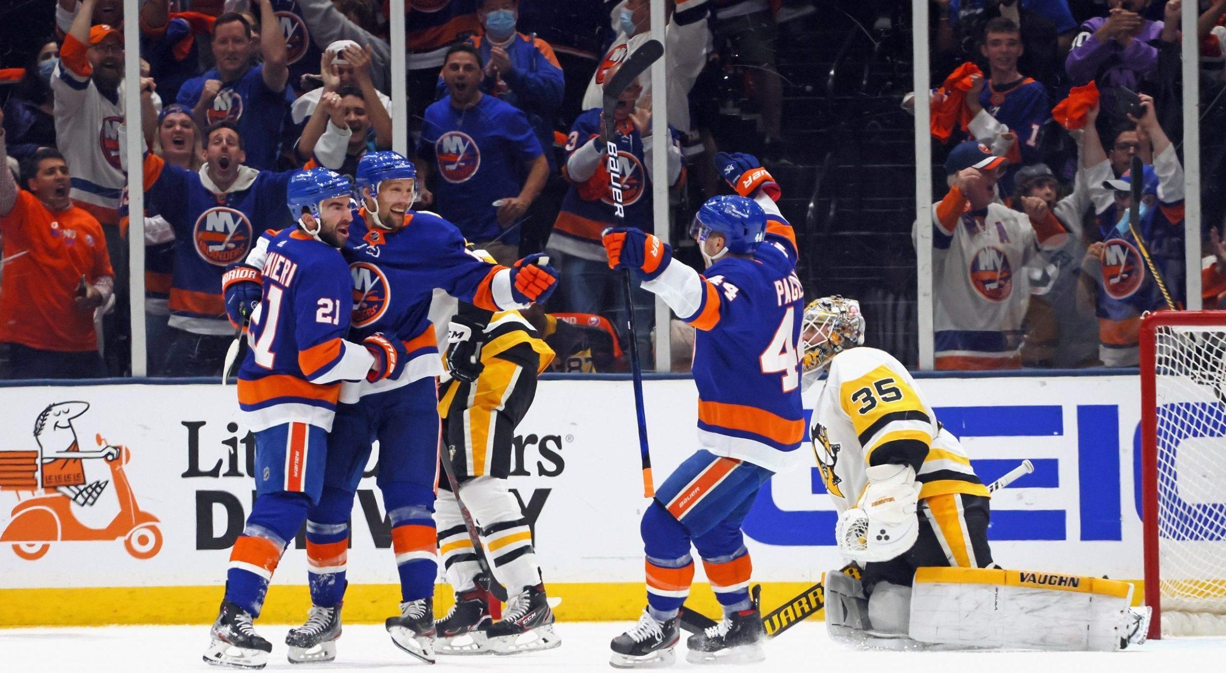 The New York Islanders celebrate a goal