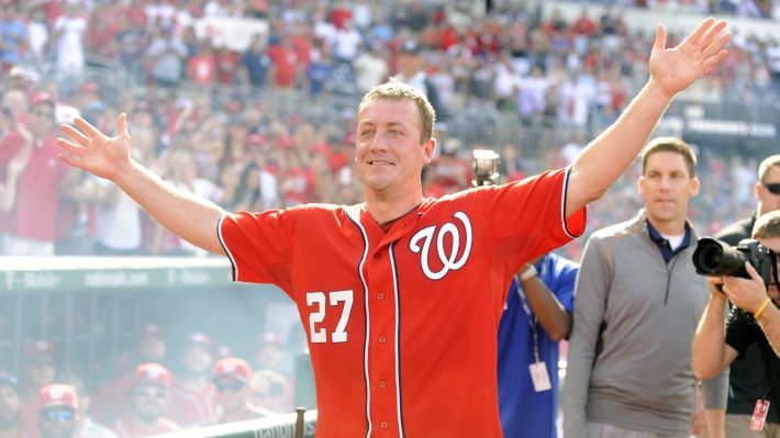 Jordan Zimmermann celebrates his 2014 no-hitter against the Marlins