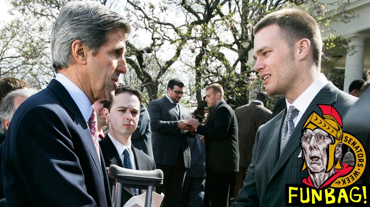 WASHINGTON - APRIL 13: U.S. Senator John Kerry (D-MA) (L) shakes hands with Patriot's quarterback Tom Brady after a Rose Garden event to honor the Super Bowl Champion's the New England Patriots April 13, 2005 at the White House in Washington, DC. Kerry had knee surgery recently. (Photo by Alex Wong/Getty Images)