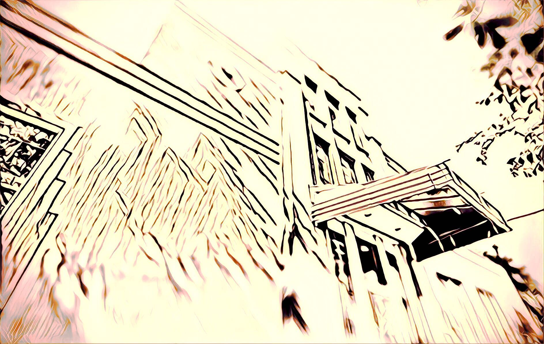 an art deco house rendered in artistic overexposed style
