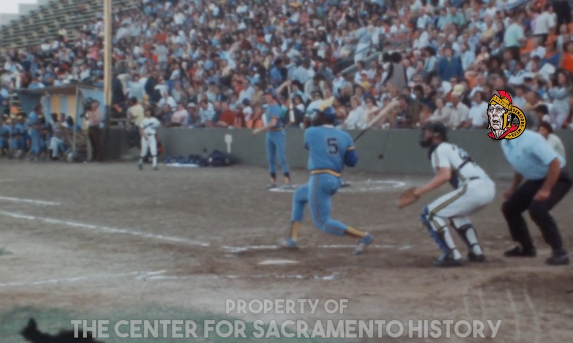 An opposing batter takes a big cut against the Sacramento Solons during a game in 1975.