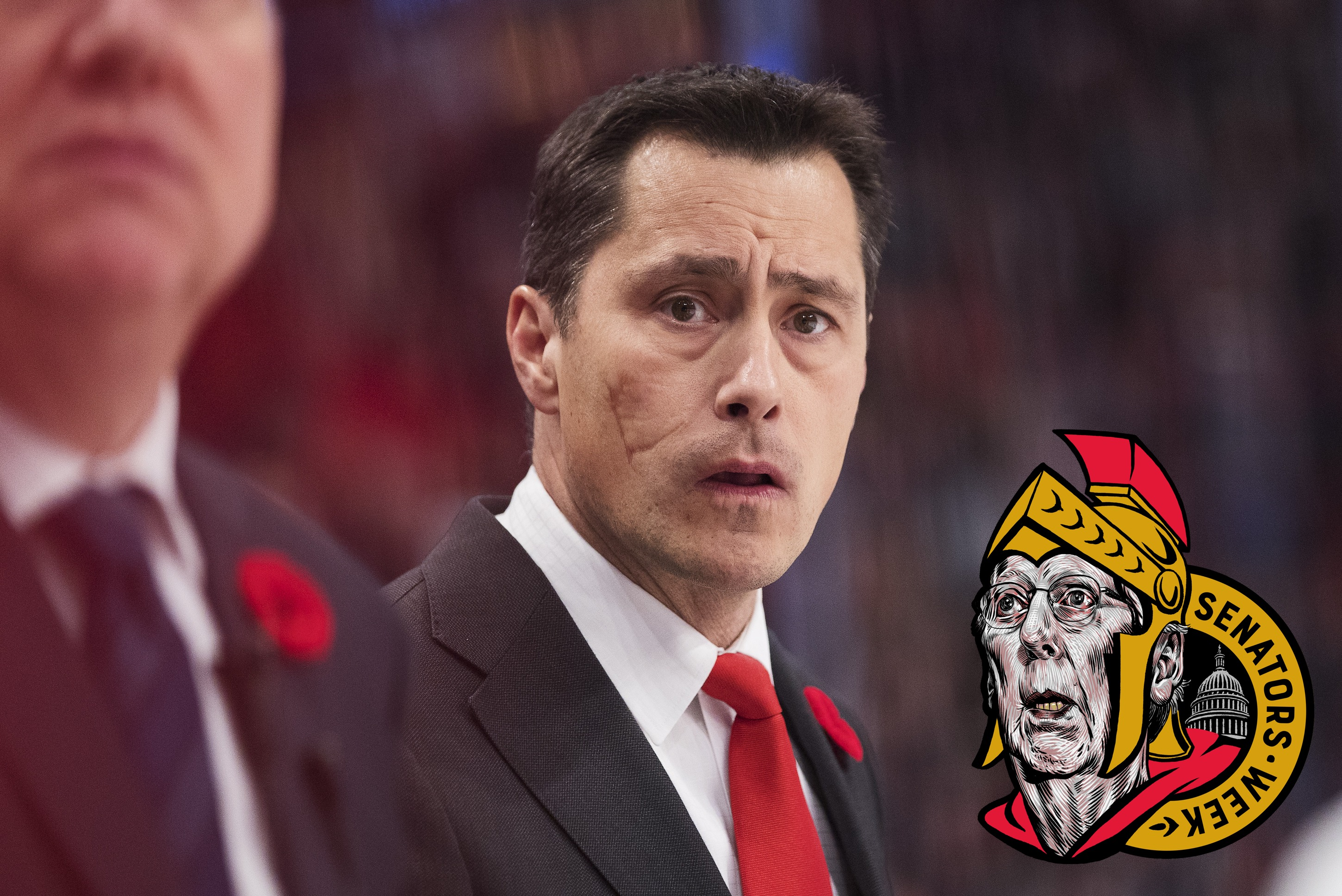Guy Boucher, head coach of Ottawa Senators during the 2017 SAP NHL Global Series match between Ottawa Senators and Colorado Avalanche at Ericsson Globe on November 10, 2017 in Stockholm.