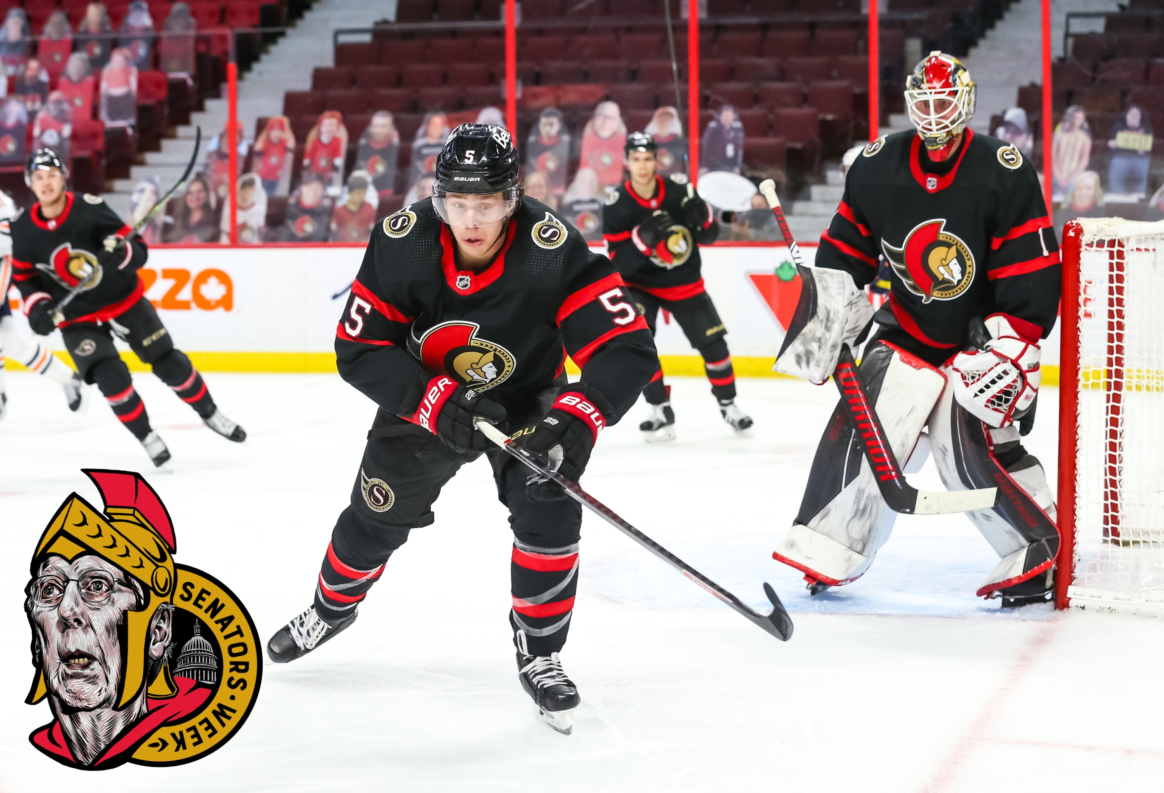 Mike Reilly #5 of the Ottawa Senators skates against the Edmonton Oilers at Canadian Tire Centre on April 7, 2021 in Ottawa, Ontario, Canada.