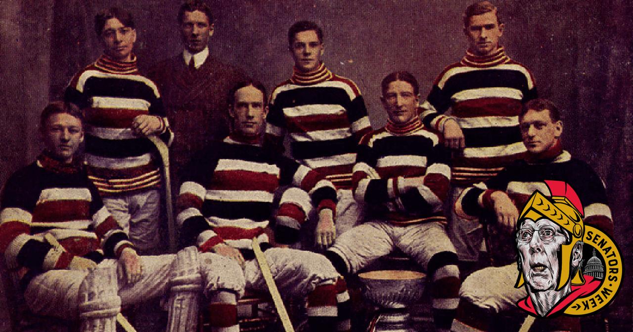 The Ottawa Silver Seven (Senators) in red black and white jerseys