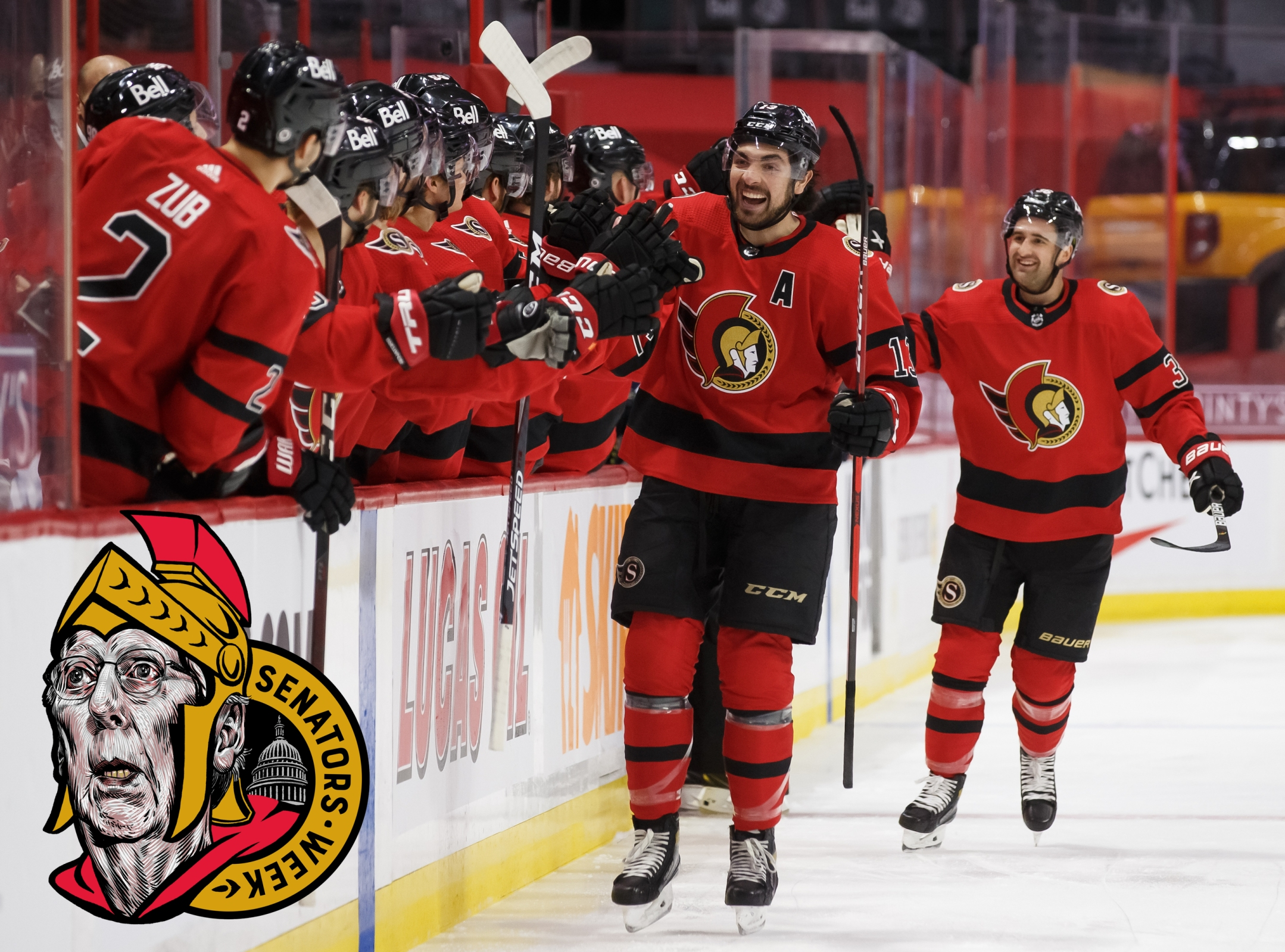 Nick Paul #13 of the Ottawa Senators celebrates his first period goal during an NHL game against the Winnipeg Jets at Canadian Tire Centre on April 14, 2021 in Ottawa, Ontario, Canada.