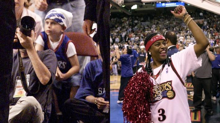 Left: A white fan dressed like Allen Iverson; Right: Allen Iverson's mom
