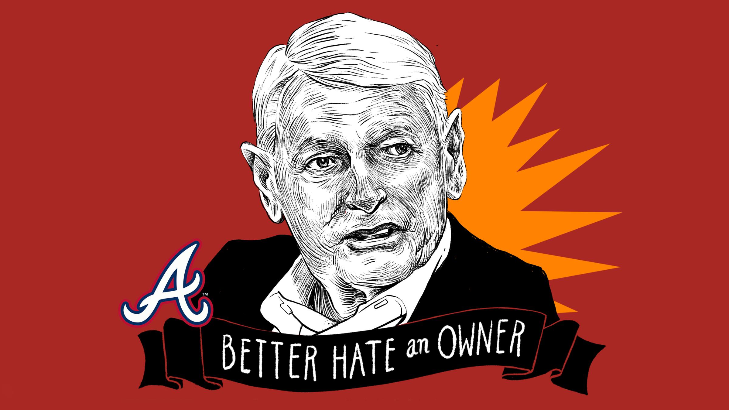 An illustration of Braves owner John Malone.