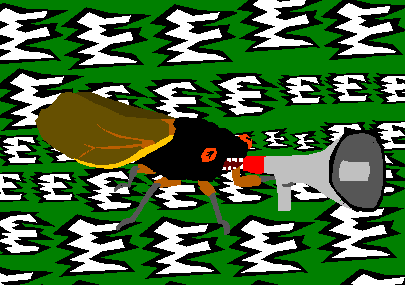 A cicada, screaming endlessly.