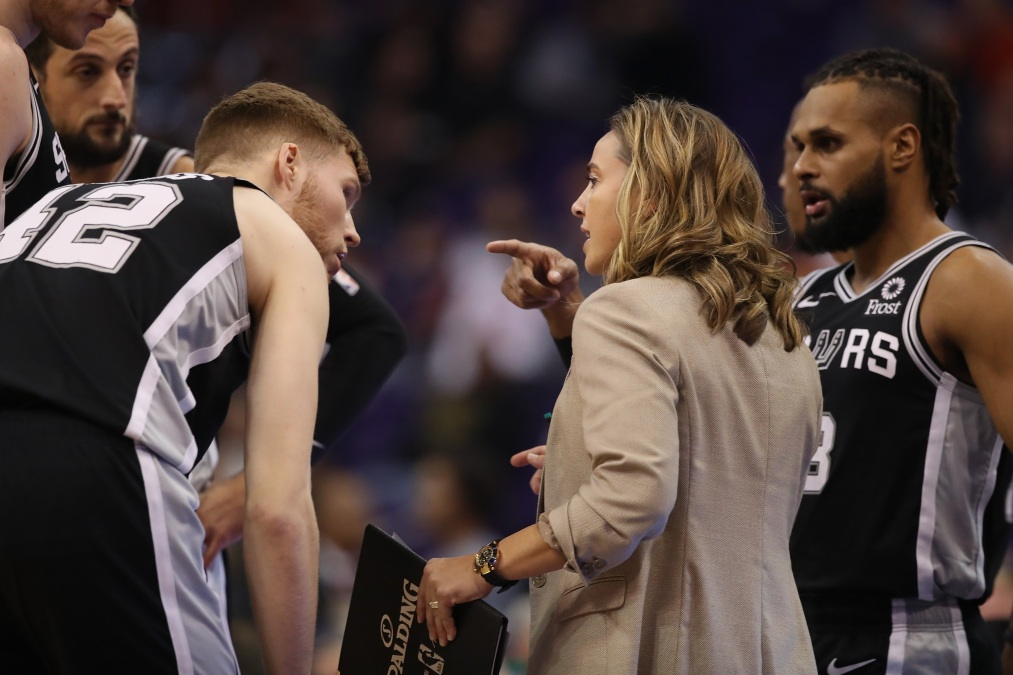 Assistant coach Becky Hammon of the San Antonio Spurs during the NBA game against the Phoenix Suns at Talking Stick Resort Arena on November 14, 2018 in Phoenix, Arizona.