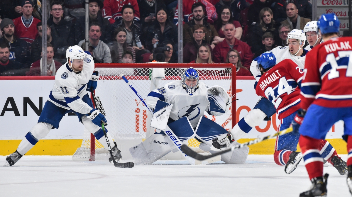 MONTREAL, QC - JANUARY 02: Goaltender Andrei Vasilevskiy #88 of the Tampa Bay Lightning watches the puck against the Montreal Canadiens during the third period at the Bell Centre on January 2, 2020 in Montreal, Canada. The Tampa Bay Lightning defeated the Montreal Canadiens 2-1. (Photo by Minas Panagiotakis/Getty Images)