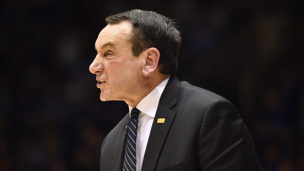 Duke coach Mike Krzyzewski makes a weird face