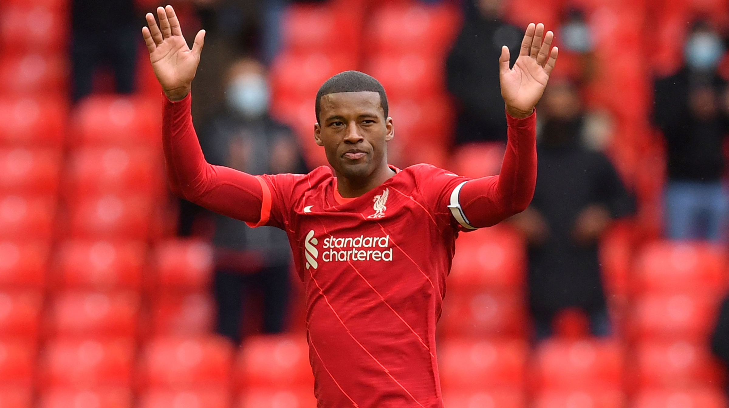 Liverpool's Dutch midfielder Georginio Wijnaldum leaves the pitch after being substituted off during the English Premier League football match between Liverpool and Crystal Palace at Anfield in Liverpool, north west England on May 23, 2021.