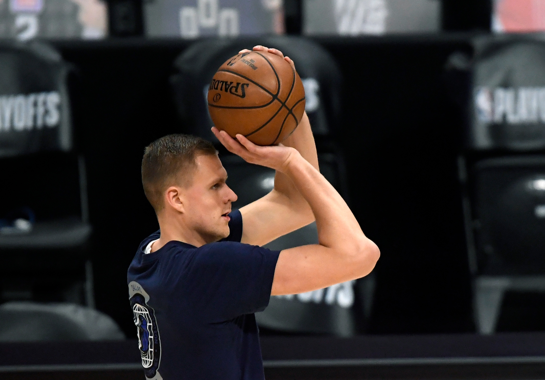 Kristaps Porzingis shoots warmup jumpers prior to the start of Game 7 against the Clippers.