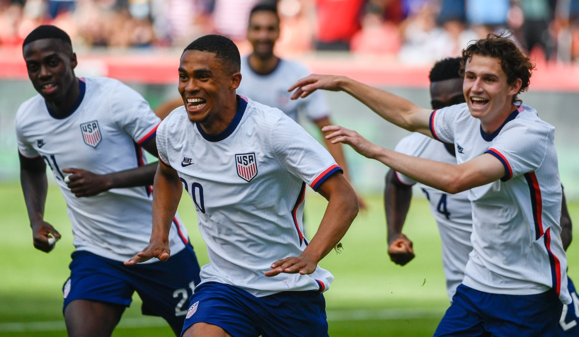 SANDY, UTAH - JUNE 09: Reggie Cannon #20 of the United States celebrates a goal during a game against Costa Rica at Rio Tinto Stadium on June 09, 2021 in Sandy, Utah. (Photo by Alex Goodlett/Getty Images)