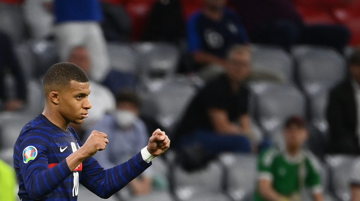 France's forward Kylian Mbappe celebrates after their win in the UEFA EURO 2020 Group F football match between France and Germany at the Allianz Arena in Munich on June 15, 2021.
