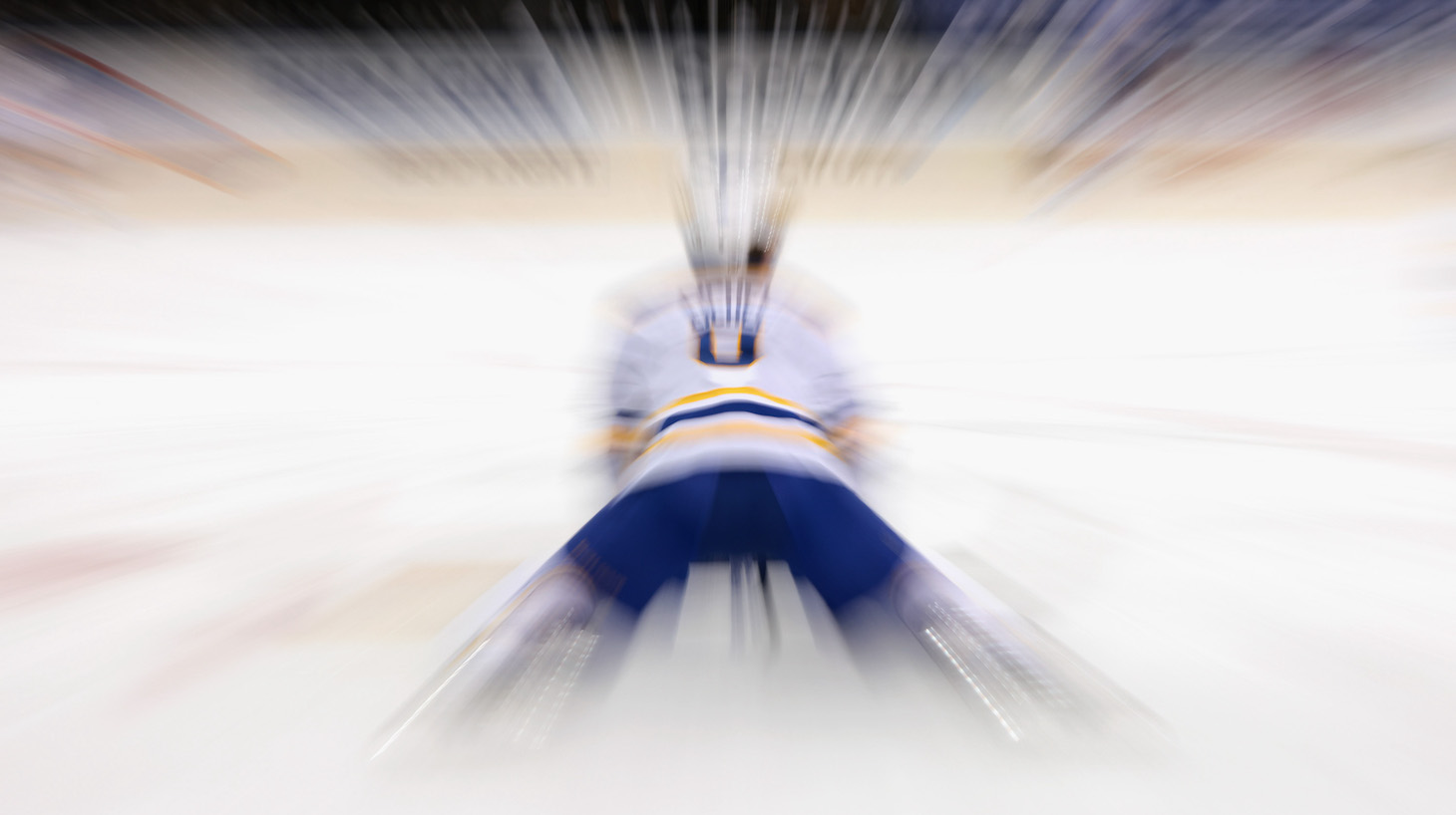 NEW YORK, NEW YORK - MARCH 02: Jack Eichel #9 of the Buffalo Sabres stretches in warm-ups prior to the game against the New York Rangers at Madison Square Garden on March 02, 2021 in New York City. (Photo by Bruce Bennett/Getty Images)