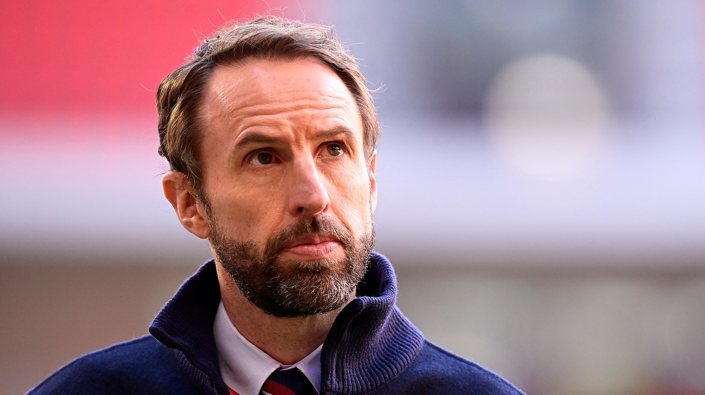 Gareth Southgate, Manager of England looks on prior to the FIFA World Cup 2022 Qatar qualifying match between Albania and England at the Qemal Stafa Stadium on March 28, 2021 in Tirana, Albania.