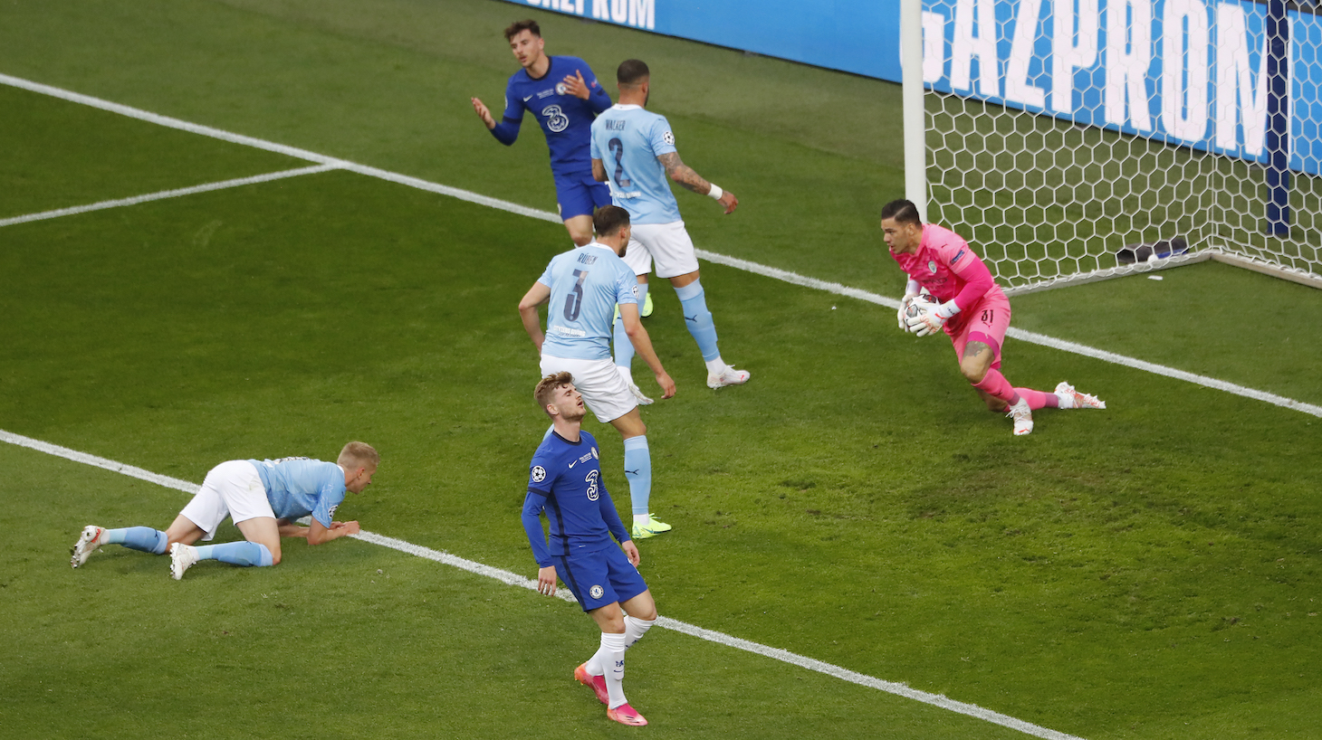 Timo Werner of Chelsea looks dejected as Ederson of Manchester City collects the ball during the UEFA Champions League Final between Manchester City and Chelsea FC at Estadio do Dragao on May 29, 2021 in Porto, Portugal.