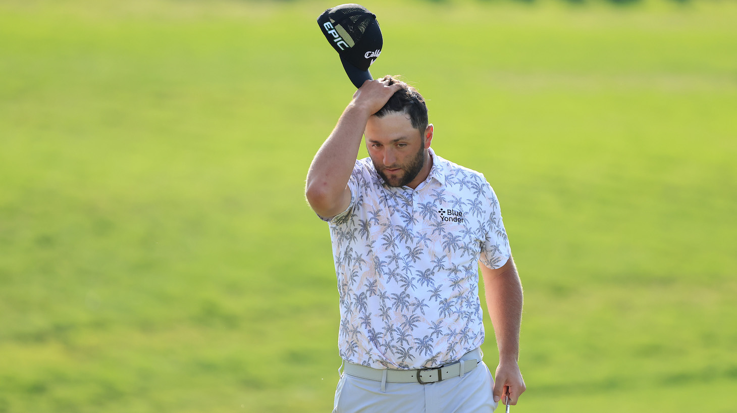 Jon Rahm of Spain reacts as he walks off the 18th green after completing his third round of The Memorial Tournament at Muirfield Village Golf Club on June 05, 2021 in Dublin, Ohio.