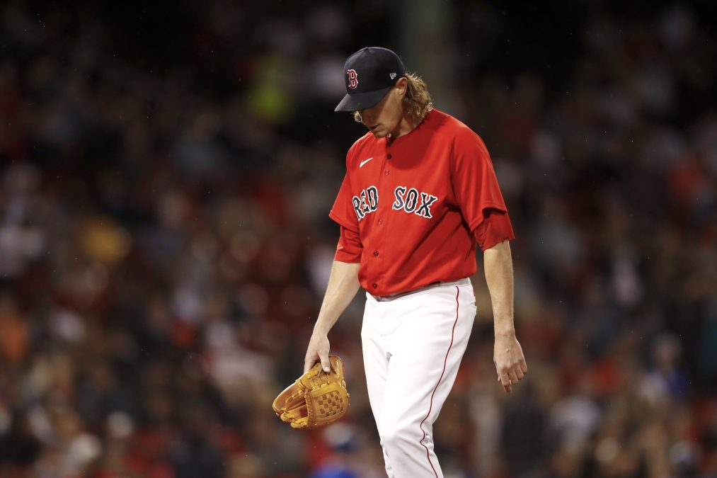 Boston Red Sox pitcher Garrett Richards leaving the mound after one of his three bad starts since the sticky stuff ban.