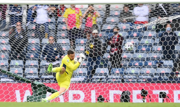 GLASGOW, SCOTLAND - JUNE 14: David Marshall of Scotland fails to save Czech Republic's second goal scored by Patrik Schick (Not pictured) during the UEFA Euro 2020 Championship Group D match between Scotland v Czech Republic at Hampden Park on June 14, 2021 in Glasgow, Scotland. (Photo by Stu Forster/Getty Images)