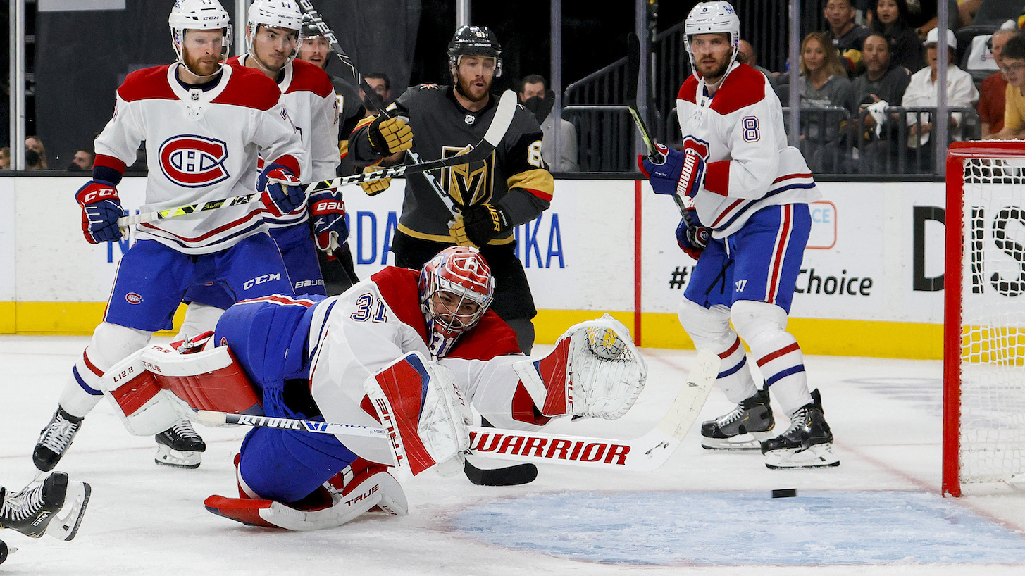 LAS VEGAS, NEVADA - JUNE 14: Carey Price #31 of the Montreal Canadiens allows a goal to Alec Martinez (not pictured) of the Vegas Golden Knights during the second period in Game One of the Stanley Cup Semifinals during the 2021 Stanley Cup Playoffs at T-Mobile Arena on June 14, 2021 in Las Vegas, Nevada. (Photo by Ethan Miller/Getty Images)