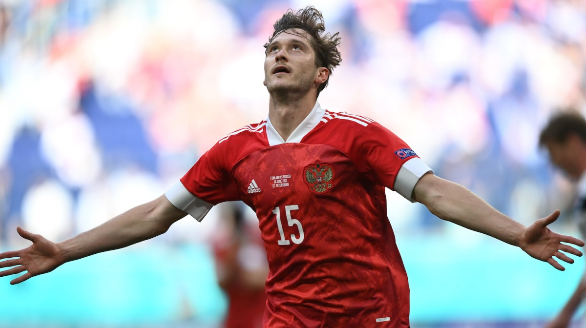 Aleksei Miranchuk of Russia celebrates after scoring their side's first goal during the UEFA Euro 2020 Championship Group B match between Finland and Russia at Saint Petersburg Stadium on June 16, 2021 in Saint Petersburg, Russia.
