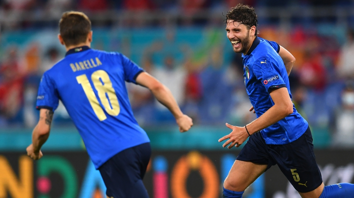 Manuel Locatelli of Italy celebrates with Nicolo Barella after scoring their side's first goal during the UEFA Euro 2020 Championship Group A match between Italy and Switzerland at Olimpico Stadium on June 16, 2021 in Rome, Italy.
